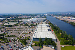Aerial view of Braehead shopping and retail park next to River Clyde in Glasgow, Scotland, Uk