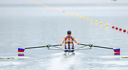"""Glasgow, Scotland, """"2nd August 2018"""", """"Russian lightweight Single Sculler"""",  RUS LW1X, Anastasia  LEBEDEVA, in the, opening strokes, of her Heat at, """"The European Games"""", Rowing, Strathclyde Park, North Lanarkshire, © Peter SPURRIER/Alamy Live News"""