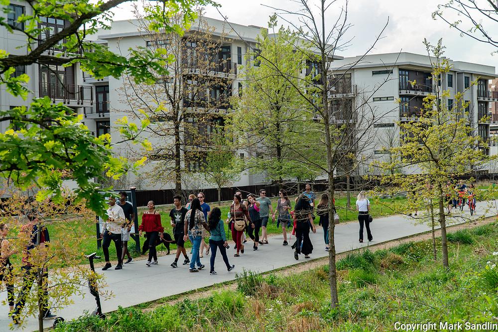 People walking on the Atlanta Beltline near Ponce City Market, Eastside