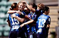 Fotball<br /> Toppserien<br /> Nadderud Stadion 24.05.10<br /> Stabæk - Lillestrøm LSK <br /> Lise Klaveness ferier sitt mål med Kristy Moore  , Kathrine Pedersen Ingrid Fosse Sæthre<br /> Foto: Eirik Førde