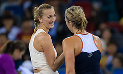September 26, 2018 - Petra Kvitova of the Czech Republic & Anastasia Pavlyuchenkova of Russia at the net after their third-round match at the 2018 Dongfeng Motor Wuhan Open WTA Premier 5 tennis tournament (Credit Image: © AFP7 via ZUMA Wire)