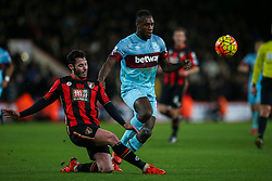 Adam Smith of Bournemouth clears the ball under pressure from Michail Antonio of West Ham United - Mandatory by-line: Jason Brown/JMP - Mobile 07966 386802 12/01/2016 - SPORT - FOOTBALL - Bournemouth, Vitality Stadium - AFC Bournemouth v West Ham United - Barclays Premier League