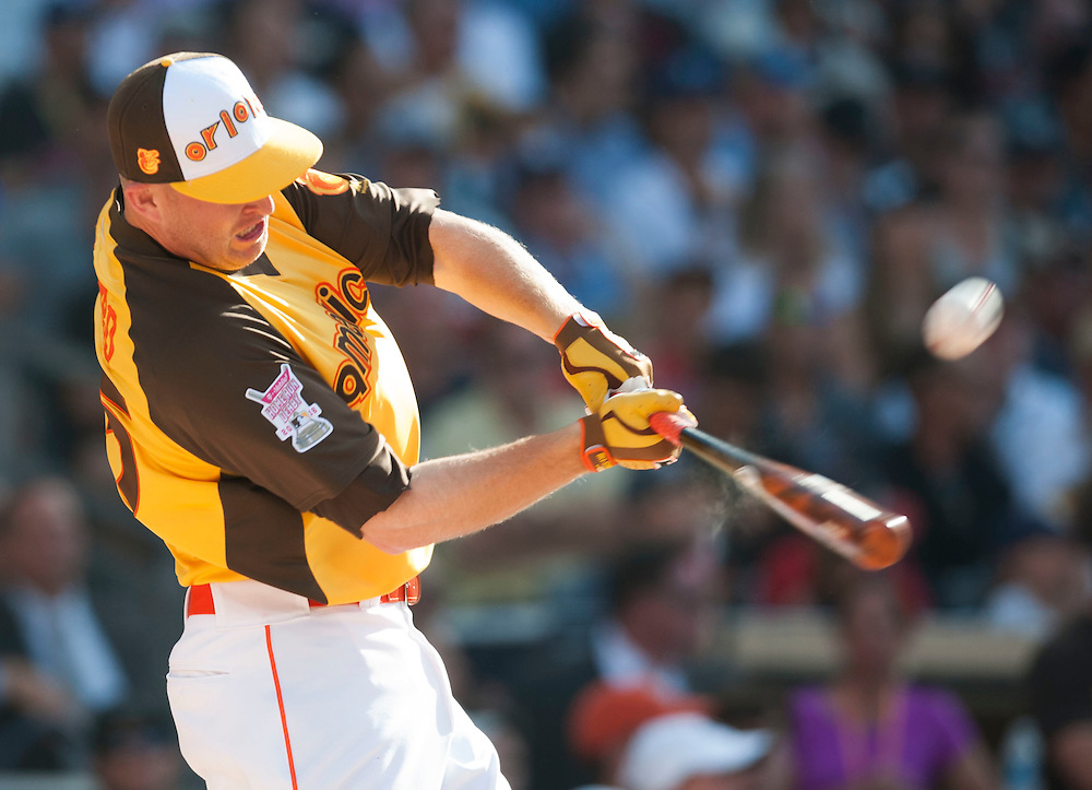 Villa Park native and former Angel Mark Trumbo hits a home run during the 2016 Home Run Derby at Petco Park in San Diego on Monday.<br /> <br /> ///ADDITIONAL INFO:   <br /> <br /> derby.0712.kjs  ---  Photo by KEVIN SULLIVAN / Orange County Register  -- 7/11/16<br /> <br /> The 206 MLB All-Star Game at Petco Park in San Diego. <br /> <br /> Villa Park native and former Angel Mark Trumbo competes in the Home-run Derby.