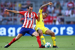 August 1, 2017 - Munich, Germany - Diego Godin of Atletico de Madrid tackling on Allan Loudeiro of Napoli durign the first Audi Cup football match between Atletico Madrid and SSC Napoli in the stadium in Munich, southern Germany, on August 1, 2017. (Credit Image: © Matteo Ciambelli/NurPhoto via ZUMA Press)