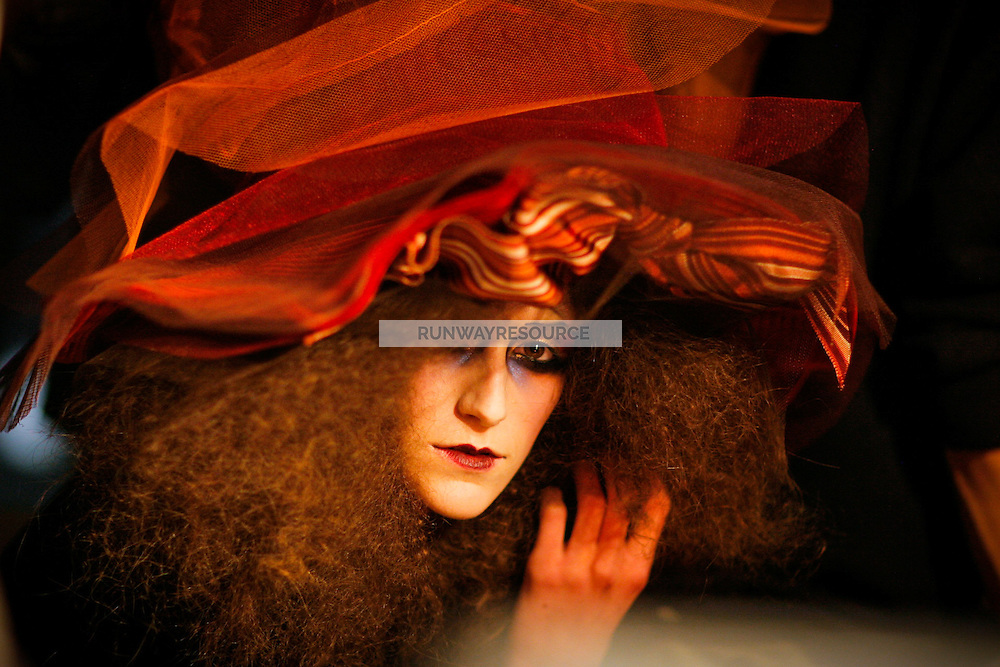 Models prepare backstage at John Galiano Fall 2007 Fashion Show