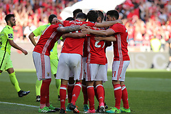 April 14, 2017 - Lisbon, Lisbon, Portugal - Benficas forward Rafa Silva from Portugal celebrating with is team mate after scoring a goal during the Premier League 2016/17 match between SL Benfica v Maritimo M., at Luz Stadium in Lisbon on April 14, 2017. (Credit Image: © Dpi/NurPhoto via ZUMA Press)
