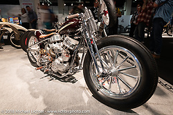 Custom Panhead at the AMD World Championship of Custom Bike Building in the Intermot Customized hall during the Intermot International Motorcycle Fair. Cologne, Germany. Saturday October 6, 2018. Photography ©2018 Michael Lichter.