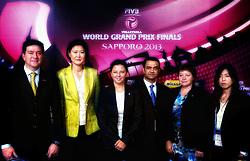 27-08-2013 VOLLEYBALL: WORLD GRAND PRIX FINAL6: SAPPORO<br /> General Technical meeting and press conference / Referee Mr. Pedro Fabian Concia (ARG), Referee Ms. Joo-Hee Kang (KOR), Referee Mrs. Susana Jativa (SPA), Referee Mr. Hamid Alrousi (UAE), Referee Mrs. Karin Zahorcova (CZE) and Ms. Yoko Sanmi (JAP)<br /> ©2013-FotoHoogendoorn.nl