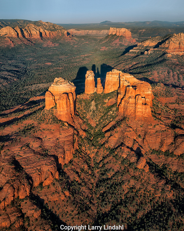 Cathedral Rock, aerial photograph, Red Rock Crossing, Crescent Moon State Park, Sedona, Arizona. Photo credit: Larry Lindahl/Ted Grussing