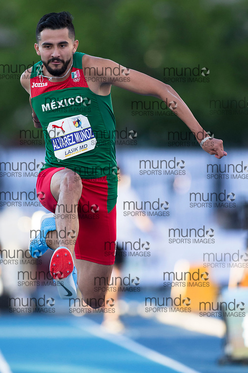 Toronto, ON -- 10 August 2018: Alberto Alvarez Munoz (Mexico), triple jump at the 2018 North America, Central America, and Caribbean Athletics Association (NACAC) Track and Field Championships held at Varsity Stadium, Toronto, Canada. (Photo by Sean Burges / Mundo Sport Images).