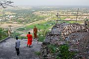 Buddhist monks in the temple Phnom Sampeau. Battambang, Cambodia. December / 2017.