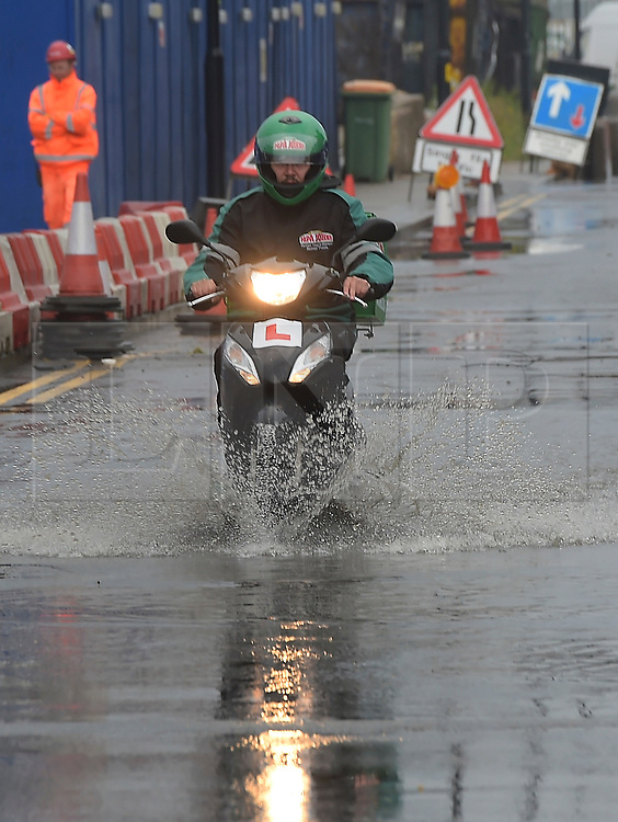 © Licensed to London News Pictures. 29/05/2018. London, UK. Flooding in east London after torrential rain has made it difficult for road users. Henly road in North Woolwich, close to the river Thames was flooded this afternoon after many inches of rain fell in just a few hours, Photo credit: Steve Poston/LNP