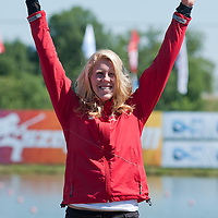 Vincent-lapointe Laurence from Canada celebrates her victory in the C1 women Canoe 200m final of the 2011 ICF World Canoe Sprint Championships held in Szeged, Hungary on August 21, 2011. ATTILA VOLGYI