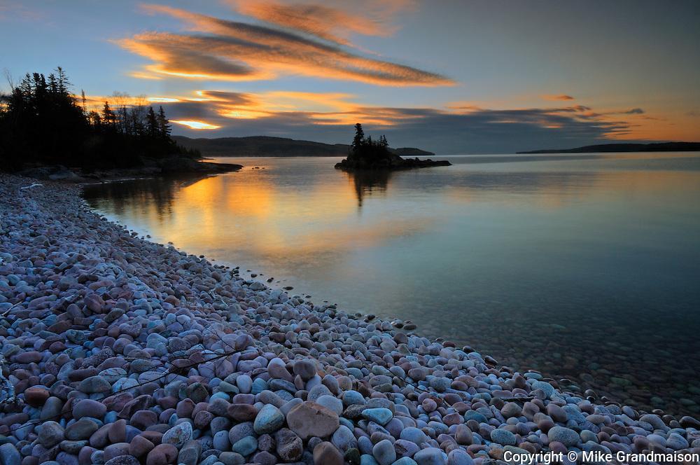 Dawn on rocky shoreline of Lake Superior<br /> Rossport<br /> Ontario<br /> Canada