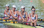 Plovdiv BULGARIA. 2017 FISA. Rowing World U23 Championships. <br /> USA BW4X. Bow. CAVALLO, Christine, DELLEMAN, Emily, MOODY, Savannah and GUTKNECHT, Meghan<br /> Wednesday. PM,  Heats 17:16:43  Wednesday  19.07.17   <br /> <br /> [Mandatory Credit. Peter SPURRIER/Intersport Images].