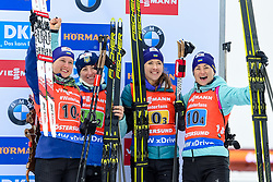 March 16, 2019 - –Stersund, Sweden - 190316 Anastasiya Merkushyna, Vita Semerenko, Yuliia Dzhima and Valj Semerenko of Ukraine celebrate after the Women's 4x6 km Relay during the IBU World Championships Biathlon on March 16, 2019 in Östersund..Photo: Johan Axelsson / BILDBYRÃ…N / Cop 245 (Credit Image: © Johan Axelsson/Bildbyran via ZUMA Press)