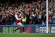 Aaron Ramsey of Arsenal shows his frustration after missing a chance. Premier league match, Chelsea v Arsenal at Stamford Bridge in London on Sunday 17th September 2017.<br /> pic by Kieran Clarke, Andrew Orchard sports photography.