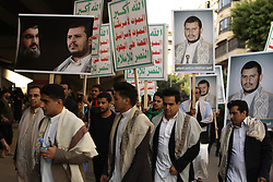 Hezbollah (or Hezbollah) militants and Yemeni supporters of Houthi leader gather to mark 'Ashura' celebration in the southern suburb of Beirut, Lebanon, on October 12, 2016. Ashura (or Achoura) is the 10th day of the day of Muharram in the Islamic calendar. For shiite Muslims, it marks the death of Hussein ibn Ali, the grandson of Propher Muhammad at the Battle of Karbala in 680. Photo by Balkis Press/ABACAPRESS.COM