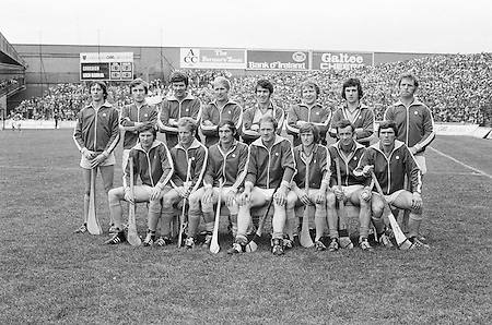 The Cork team before the All Ireland Senior Hurling Final, Cork v Wexford in Croke Park on the 5th September 1976. Cork 2-21, Wexford 4-11.<br /> <br /> M Coleman, B Murphy, P McDonnell, M Doherty, P Barry, J Crowley, D Coughlan, G McCarthy, P Moylan, M Malone, B Cummins, J Barry Murphy, C McCarthy, R Cummins (capt), S O'Leary, Subs, E O'Donoghue for O'Leary, J Horgan for Barry.