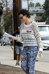 EXCLUSIVE: Minnie Driver reads 'Speechless' script as she walks around with curlers on set. 13 Sep 2017 Pictured: Minnie Driver. Photo credit: SS/MEGA TheMegaAgency.com +1 888 505 6342
