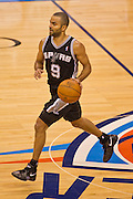 June 2, 2012; Oklahoma City, OK, USA; San Antonio Spurs guard Tony Parker (9) dribbles the ball during a playoff game against Oklahoma City Thunder at Chesapeake Energy Arena.  Thunder defeated the Spurs 109-103 Mandatory Credit: Beth Hall-US PRESSWIRE