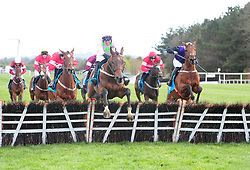 Saldier ridden by Robbie Power (centre) win the AES Champion Four Year Old Hurdle during day five of the Punchestown Festival 2018 at Punchestown Racecourse, County Kildare.
