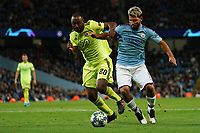 Iyayi Atiemwen of Dinamo Zagreb battles with Manchester City's Sergio Aguero<br /> <br /> Football - 2019 / 2020 UEFA Champions League - Champs Lge Grp C: Man City-D Zagreb<br /> <br /> , at Etihad Stadium<br /> <br /> Colorsport / Terry Donnelly