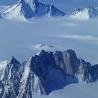 Antarctica. Organ Pipe Peaks and Mount Andrews in the Gothic Mountains, a range of Queen Maud Mountains, in the vast Trans-Antarctic Mountains. Sanctuary Glacier foreground, Albanus Glacier background.