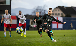 GRÖDIG, AUSTRIA - Tuesday, December 10, 2019: Liverpool's Harvey Elliott scores the first goal fron a penalty kick during the final UEFA Youth League Group E match between FC Salzburg and Liverpool FC at the Untersberg-Arena. (Pic by David Rawcliffe/Propaganda)