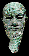 Head of a Ruler. Arsenical copper sculpture, possibly Iranian. Circa 2300-2000 BC. Probably displayed in a temple of some sort.