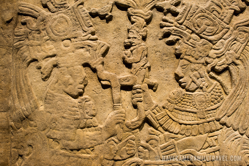 MEXICO CITY, MEXICO--Carvings from Chiapas dating to 600-800 AD.  The National Museum of Anthropology showcases  significant archaeological and anthropological artifacts from the Mexico's pre-Columbian heritage, including its Aztec and indiginous cultures.