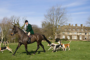 Member of Heythrop Hunt rides with foxhounds at traditional Hunt Meet on Swinbrook House Estate in Oxfordshire, United Kingdom