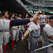 NEW YORK, NEW YORK - July 07: Washington Nationals players congratulate Ben Revere #9 of the Washington Nationals as he returns to the dugout after driving in a run during the Washington Nationals Vs New York Mets regular season MLB game at Citi Field on July 07, 2016 in New York City. (Photo by Tim Clayton/Corbis via Getty Images)