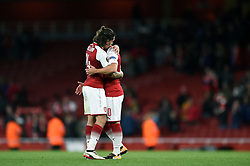 Hector Bellerin of Arsenal and Jack Wilshere embrace at the final whistle - Mandatory by-line: Patrick Khachfe/JMP - 14/09/2017 - FOOTBALL - Emirates Stadium - London, England - Arsenal v Cologne - UEFA Europa League Group stage