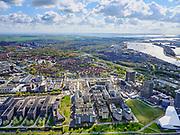Nederland, Noord-Holland, Amsterdam, 07-05-2021; Amsterdam-Noord. Zicht op Overhoeks, nieuwe stadswijk. Nieuwe SHELL laboratorium. Eye Film Museum .<br /> Amsterdam North. View of Overhoeks, new city district. Shell lab and Eye Film Museum.<br /> <br /> luchtfoto (toeslag op standaard tarieven);<br /> aerial photo (additional fee required)<br /> copyright © 2021 foto/photo Siebe Swart.
