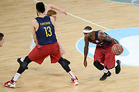 Unicaja's Alberto Diaz and FCB Lassa's Victor Faverani and Tyrese Rice during Quarter Finals match of 2017 King's Cup at Fernando Buesa Arena in Vitoria, Spain. February 17, 2017. (ALTERPHOTOS/BorjaB.Hojas)