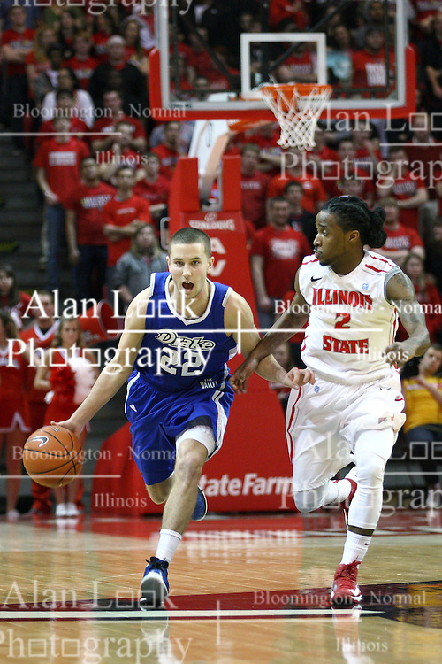 12 January 2013:  Bryant Allen hustles to get in front of Micah Mason during an NCAA Missouri Valley Conference mens basketball game Where the Bulldogs of Drake University beat the Illinois State Redbirds 82-77 in Redbird Arena, Normal IL