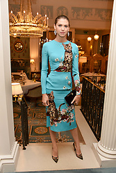 Sabrina Percy at an afternoon tea in honour of Megan Hess hosted by Lady Violet Manners at The Lanesborough, Hyde Park Corner, London, England. 10 November 2017.