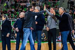 Jaka Daneu and Zmago Sagadin during ABA basketball league round 9 match between teams KK Cedevita Olimpija and KK Crvena Zvezda MTS in Arena Stozice, 1. December, 2019, Ljubljana, Slovenia. Photo by Grega Valancic / Sportida