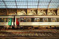 View of the Arles stone sculptures, forged steel roof, and train found inside the Nice Train Station, France.