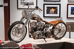 Bill Dodge's Blings Cycles custom Paco's Panhead in the More Mettle - Motorcycles and Art That Never Quit exhibition in the Buffalo Chip Events Center Gallery during the Sturgis Motorcycle Rally. SD, USA. Monday, August 9, 2021. Photography ©2021 Michael Lichter.