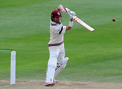 Somerset's James Hildreth drives the ball. Photo mandatory by-line: Harry Trump/JMP - Mobile: 07966 386802 - 25/05/15 - SPORT - CRICKET - LVCC County Championship - Division 1 - Day 2- Somerset v Sussex Sharks - The County Ground, Taunton, England.