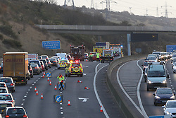 Fareham, Hampshire Thursday 24th November 2016 A crash involving five cars and a motorbike this morning is the latest accident to happen following figures which showed an shocking increase in incidents since the expansion of the M27.<br /> <br /> <br /> Last month, we revealed that the number of collisions causing injuries along a much-criticised stretch of the M27 has increased on average since it was expanded from three to four lanes.<br /> <br /> On Monday, two people were rushed to hospital after a bin lorry overturned in wind, between junctions 11 and 12, causing a full closure of M27 eastbound.<br /> <br /> <br /> A two-vehicle crash between junction 8 and 9 also caused hold-ups on the M27 westbound earlier this month.<br /> <br /> In 2008 the route between J11 and J12 near Portsmouth was expanded to reduce congestion on the route and making driving safer.<br /> <br /> But Freedom of Information figures obtained by Hampshire Constabulary showed that on average, there have been more major collisions since the change was made to both sides.<br /> <br /> Today's crash has caused setbacks across several Hampshire roads including the A27 and B2177. The motorcyclist had suffered neck, arm and leg injuries, while two other people had minor injuries.©UKNIP
