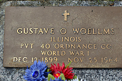31 August 2017:   Veterans graves in Park Hill Cemetery in eastern McLean County.<br /> <br /> Gustave O Woellms  Illinois  Private 40 Ordnance Co  World War I  Dec 12 1899  Nov 25 1964