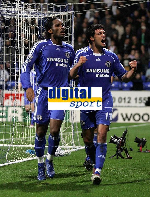 Photo: Paul Thomas.<br /> Bolton Wanderers v Chelsea. The Barclays Premiership. 29/11/2006.<br /> <br /> Michael Ballack (R) of Chelsea celebrates his goal..