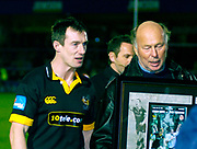 Wycombe. GREAT BRITAIN,  5th November 2004, Zurich Premiership Rugby,  London Wasps vs Harlequins, Adams Park, ENGLAND, [Mandatory Credit; Peter Spurrier/Intersport-images],<br /> Rob Howley, walk's off the pitch, with Wasps Chairman  after presentation.<br /> [Mandatory Credit; Peter Spurrier/Intersport Images]