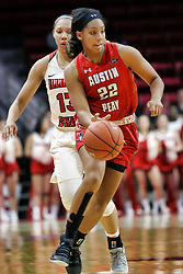 NORMAL, IL - December 04: Keisha Gregory followed by Katrina Beck during a college women's basketball game between the ISU Redbirds  and the Austin Peay Governors on December 04 2018 at Redbird Arena in Normal, IL. (Photo by Alan Look)