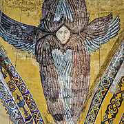 Seraphim rediscovered in 2010 as renovation removed the covering decoration. Originally built as a Christian cathedral, then converted to a Muslim mosque, and now a museum, the Aya Sophya is one of the oldest and grandest buildings in Istanbul.