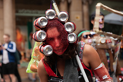 May 24, 2019 - Barcelona, Espanha - BARCELONA, CA - 24.05.2019: GLOBAL STRIKE FOR CLIMATE CHANGE - A group of people dressed with trash is acting during the second world strike for climate change, known as Fridays for Future. 2019 May 24, Barcelona. (Credit Image: © Nicolò Ongaro/Fotoarena via ZUMA Press)