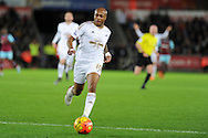 Andre Ayew of Swansea city in action. Barclays Premier league match, Swansea city v West Ham Utd at the Liberty Stadium in Swansea, South Wales  on Sunday 20th December 2015.<br /> pic by  Andrew Orchard, Andrew Orchard sports photography.